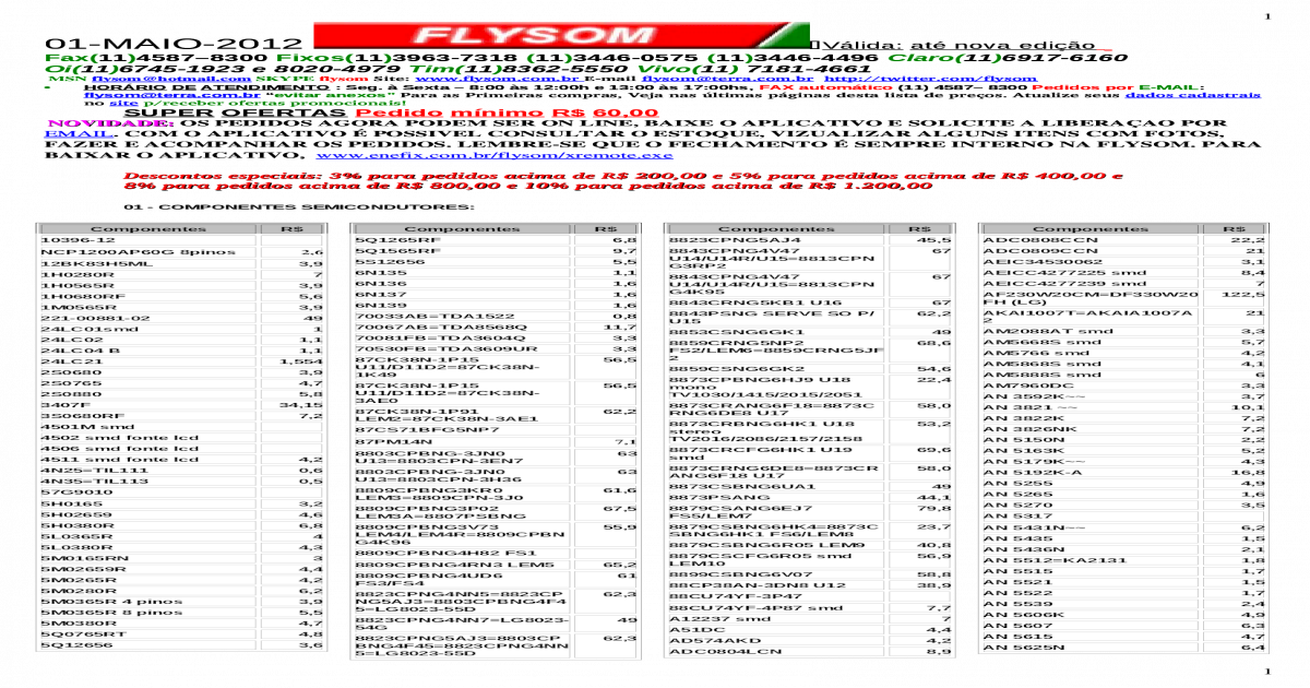 Lista Maio 2012 - Flysom