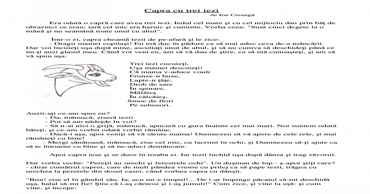 Capra Cu Trei Iezi Text Si Desene De Colorat