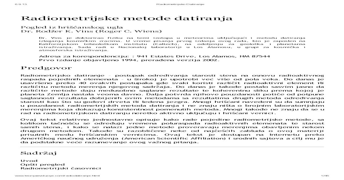 Pretpostavke o datiranju radioizotopa