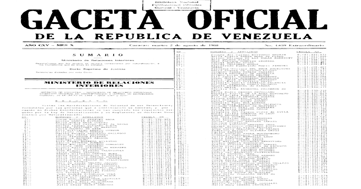 DE LA REPUBLICA DE VENEZUELA - MAZUERA LLANOS     Juan