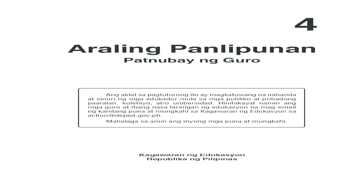 K TO 12 GRADE 4 TEACHERS GUIDE IN ARALING PANLIPUNAN (Q1-Q4)