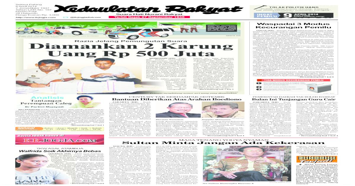 Kedaulatan Rakyat 8 Maret 2014