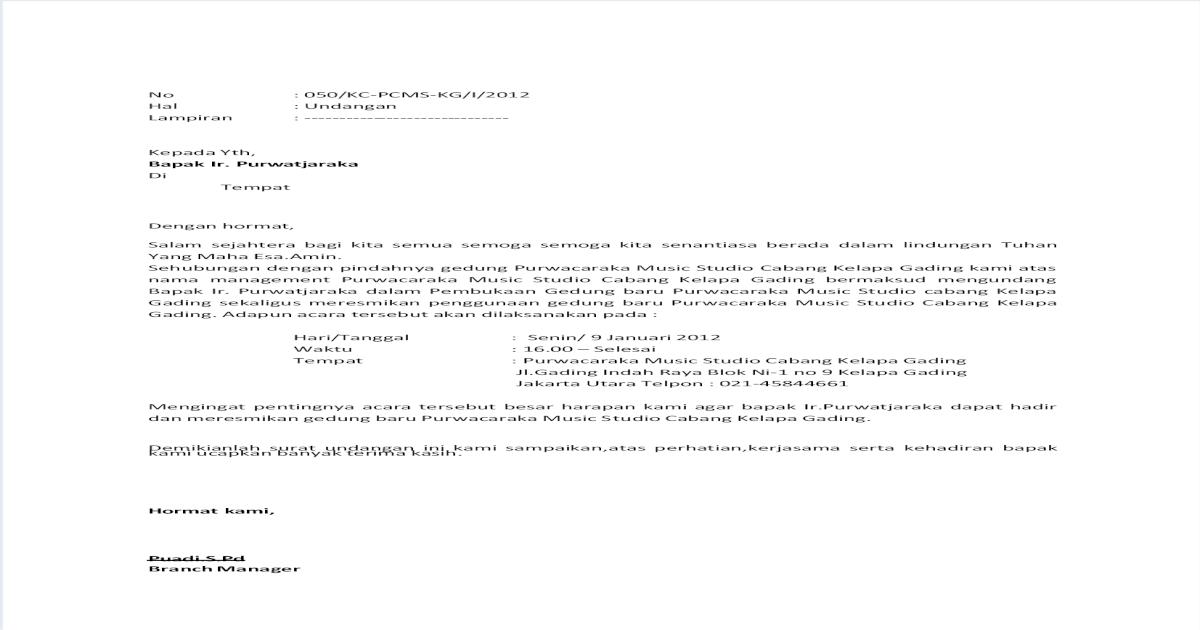 Contoh Surat Undangan Peresmian Kantor Baru Bagi Contoh Surat